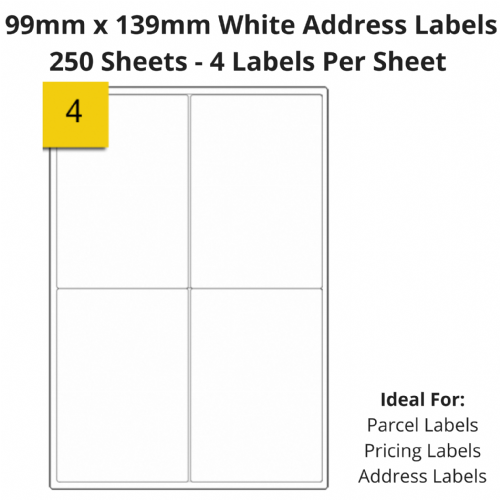 White Sticky Address Labels - 4 Per Sheet